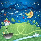 Surreal landscape by night with river, umbella and flying fishes. Vector illustration eps10 vector illustration