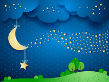 Surreal landscape by night with wave of stars. Vector illustration eps10 Stock Image