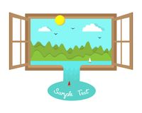 Surreal landscape in open window with eco paper cut illustration Stock Photography
