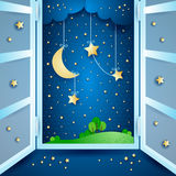 Surreal landscape with open window. Vector illustration eps10 Stock Image