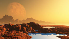 Surreal landscape with planet. 3D render of a surreal alien landscape with planet Stock Image