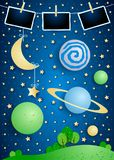 Surreal landscape with planets and photo frames. Vector illustration eps10 vector illustration