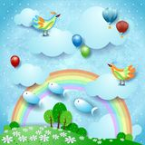 Surreal landscape with rainbow, balloons, birds and flying fishes. Vector illustration eps10 vector illustration