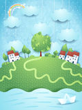 Surreal landscape with river and paper boat. Vector illustration eps10 Stock Photography