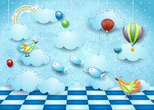 Surreal landscape with room, clouds, ballons, birds and flying fishes. Vector illustration eps10 vector illustration