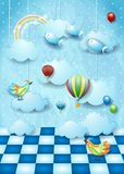 Surreal landscape with room, clouds, balloons, birds and flying fishes. Vector illustration eps10 stock illustration