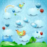 Surreal landscape with skyline, balloons, birds and flying fisches. Vector illustration eps10 vector illustration