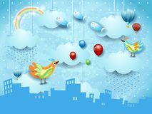 Surreal landscape with skyline, rain, ballons, birds and flying fisches. Vector illustration eps10 royalty free illustration
