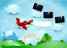 Surreal landscape with small city, airplane and photo frames royalty free illustration