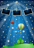 Surreal landscape with spotlights, balloons and photo frames. Vector illustration eps10 stock illustration