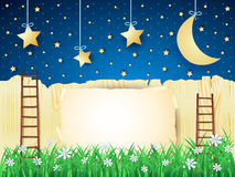Surreal landscape with stairs, moon and copy space Stock Image