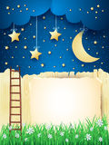 Surreal landscape with stairway, moon and copy space Royalty Free Stock Images