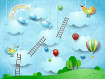 Surreal landscape with stairways, birds, balloons and flying fisches. Vector illustration eps10 vector illustration