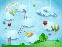 Surreal landscape with stairways, birds, balloons and flying fishes. Vector illustration eps10 stock illustration