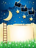 Surreal landscape with starway, moon and photo frames. Vector illustration eps10 vector illustration