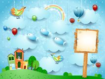 Surreal landscape with town, sign, birds and flying fisches. Vector illustration eps10 stock illustration