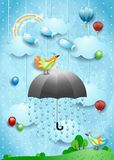 Surreal landscape with umbrella, balloons, birds and flying fisches. Vector illustration eps10 stock illustration