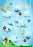 Surreal landscape with village, birds, balloons and flying fisches. Vector illustration eps10 royalty free illustration