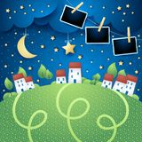 Surreal landscape with village and photo frames. Vector illustration eps10 vector illustration
