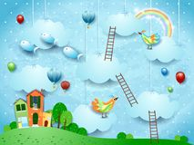 Surreal landscape with village, stairways, balloons, birds and flying fishes. Vector illustraton eps10 stock illustration