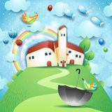Surreal landscape with village, umbrella and flying fishes. Vector illustration eps10 stock illustration