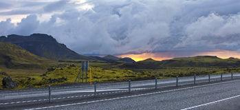 Surreal landscape with wooly moss at sunset in Iceland Stock Photography