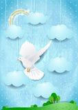 Surreal landschap met duif en hangende wolken Royalty-vrije Stock Fotografie
