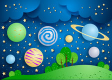 Surreal landschap met grote planeten in de hemel stock illustratie