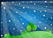 Surreal landschap met grote ster en lichten stock illustratie