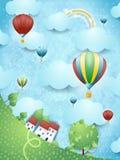 Surreal landschap met hete luchtballons Stock Foto