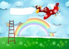 Surreal landschap met ladder, vliegtuig en banner Stock Foto's