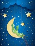 Surreal landschap met maan en weide Stock Fotografie