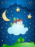 Surreal landschap met maan, sterren, dorp en wolken Stock Foto's