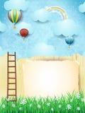 Surreal landschap met trap en hete luchtballons Royalty-vrije Stock Afbeelding