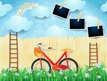 Surreal landschap met treden, fiets en fotokaders stock illustratie