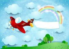 Surreal landschap met vliegtuig, banner en regen Stock Foto