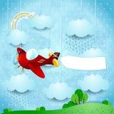 Surreal landschap met vliegtuig, banner en regen Royalty-vrije Stock Fotografie