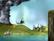 Surreal landschapsgezicht stock illustratie