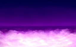Surreal light in clouds. Digital painting - purple clouds with surreal light in night Stock Image