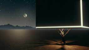 Surreal lonely cube tree in apocalyptic desert at night