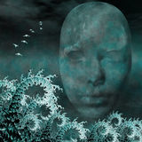 Surreal Mask and fractals as ocean Royalty Free Stock Images