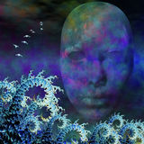 Surreal Mask and fractals ocean waves Stock Photography