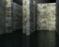 Surreal Maze, Water Background, Danger. Background image of a stone medieval maze filled with water. The surreal scene can be used for an abstract concept such royalty free stock photography