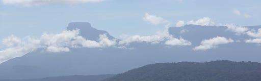 Surreal mening over de bovenkant van Onderstel Roraima onder de mist Stock Foto's