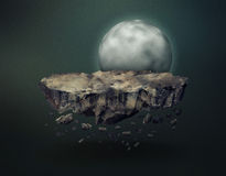 Surreal meteorite gravitating near the moon stock illustration