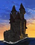 Surreal Middeleeuwse Kasteel van de Fantasiesteen Stock Fotografie