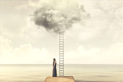 Free Surreal Moment Of Woman Climbing An Imaginary Scale To The Clouds Royalty Free Stock Photo - 95498635