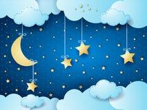 Surreal nacht, fantasie cloudscape Royalty-vrije Stock Afbeeldingen
