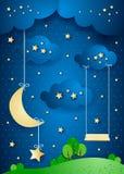 Surreal nacht met het hangen van maan en geschommel Stock Fotografie