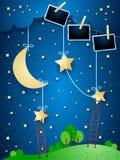 Surreal nacht met het hangen van maan, trappen en fotokaders vector illustratie